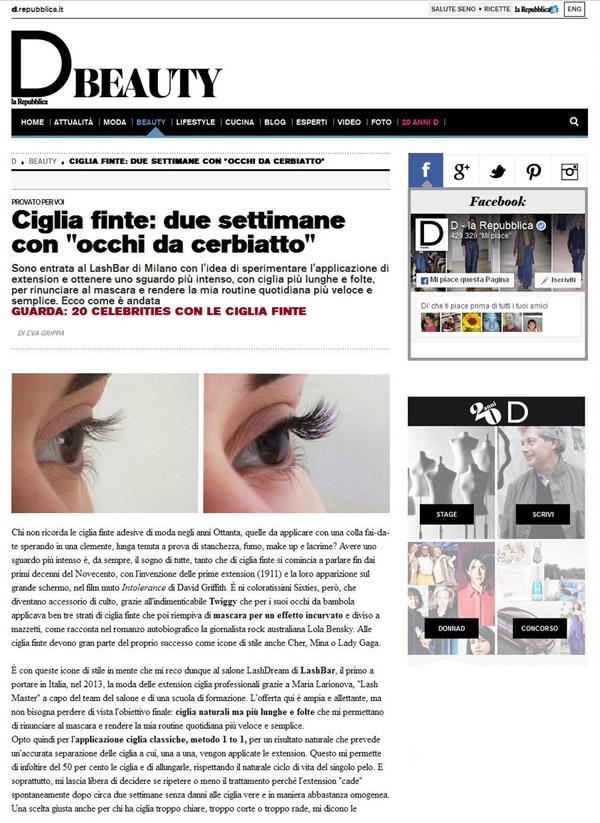 D Repubblica, portfolio LashDream LashBar